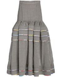 Rosie Assoulin Dropped-waist Checked Cotton Tiered Maxi Skirt - Grey