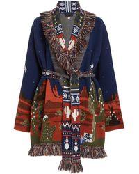 Alanui West Xmas Eve Lanscape Wool-cashmere Knit Cardigan - Blue