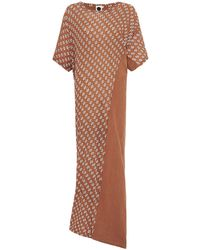 Bassike Spliced Linen And Printed Cotton Jersey Maxi Dress - Brown