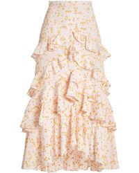Acler Clairmont Ruffled Embroidered Cotton-blend Maxi Skirt - Multicolour