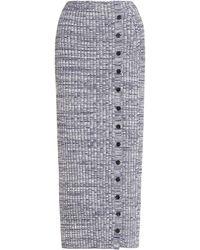 Self-Portrait Melange Ribbed-knit Midi Skirt - Multicolour