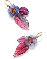 Irene Neuwirth One Of A Kind Tropical Flower Earrings Set With Tourmal - Purple