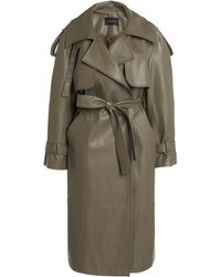Low Classic Belted Faux Leather Trench Coat - Multicolour