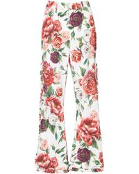 Dolce & Gabbana - Peony-print High-rise Flared Trousers - Lyst