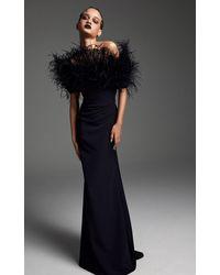 Aliétte Feathered Crepe Gown - Black