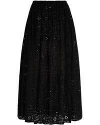 Matteau Broderie-cotton Maxi Skirt - Black