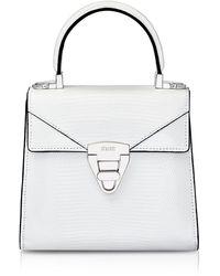Stalvey - Mini Trapezoid Crocodile Top Handle Bag, White - Lyst