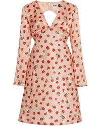 RIXO London Sophie Rose-print Silk Open-back Mini Dress - Red