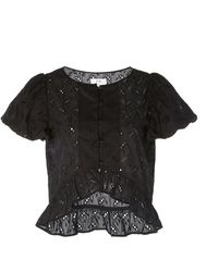 Sir. The Label Elodie Broderie Anglaise Cotton And Silk-blend Top - Black