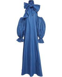Leal Daccarett Pispirispi Puff-sleeve Denim Dress - Blue