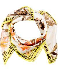 Off-White c/o Virgil Abloh - Logo-trimmed Floral-print Silk Scarf - Lyst