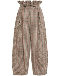 Stella Jean - Checked Paperbag Pant - Lyst