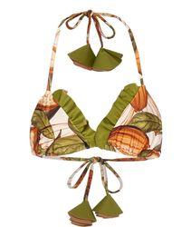 Agua de Coco Ruffled Printed Triangle Bikini Top - Multicolor
