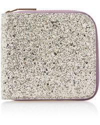 Victoria Beckham Glittered Cotton-canvas Wallet - Metallic