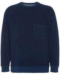 Blue Blue Japan Split Back Crew-neck Cotton Pullover - Blue
