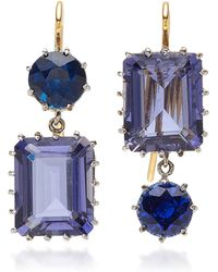 Renee Lewis - Antique Synthetic Sapphire And Blue Quartz Earrings - Lyst