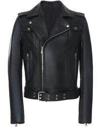 Balmain Fringe Leather Motorcycle Jacket - Black