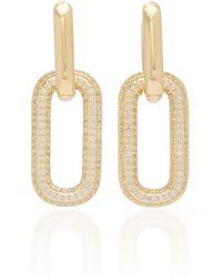 Fallon Firenze Crystal-embellished Gold-plated Earrings - Metallic
