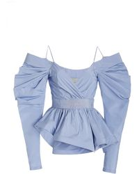 Silvia Tcherassi Cavallino Draped Taffeta Off-the-shoulder Top - Blue