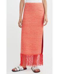 Marina Moscone Fringed Woven Wool-silk Midi Skirt - Multicolor