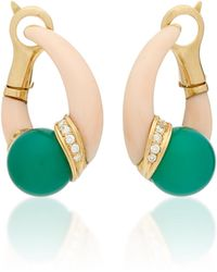 Gioia - Vintage 18k Gold, Coral, Chrysophrase And Diamond Earrings - Lyst