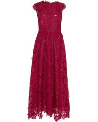 J. Mendel Sleeveless Guipure Lace Midi Dress - Pink