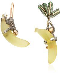 Bibi Van Der Velden Monkey On Banana 18k Rose And Yellow Gold, Sterling Silver And Multi-stone Earrings