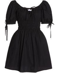 Faithfull The Brand Kanika Smocked Cotton Mini Dress - Black