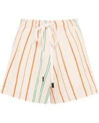 Bassike Striped Linen Drawstring Shorts - Natural