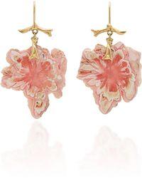 Annette Ferdinandsen Exclusive: Rhodochrosite Snowflake Branch Earrings - Pink