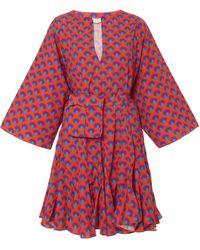 RHODE Ryan Belted Cotton Mini Dress - Red