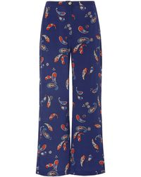 Ciao Lucia Pietro Printed Silk Trousers - Blue