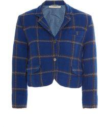 Péro Cropped Plaid Wool Jacket - Blue