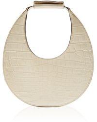 STAUD Moon Croc-effect Leather Top Handle Bag - White