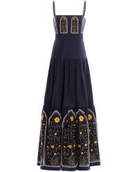 Agua by Agua Bendita Lima Embroidered Linen Maxi Dress - Blue