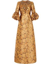 Andrew Gn Crystal-embellished Floral Brocade Gown - Metallic