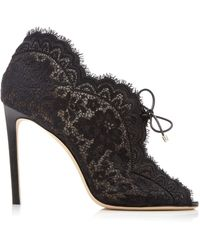 Jimmy Choo Kaiana Floral Lace Court Shoes - Black
