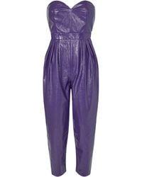 ROTATE BIRGER CHRISTENSEN Lana Faux Leather Strapless Jumpsuit - Purple