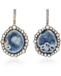 Kimberly Mcdonald - Rhodium-plated 18k White Gold, Geode And Diamond Earrings - Lyst