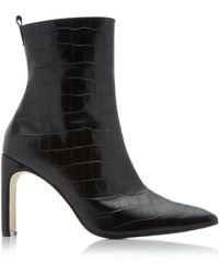 Miista Marcelle Croc-embossed Leather Boots - Black