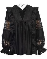 Lug Von Siga Carla Lace Cotton Top - Black