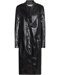 ROTATE BIRGER CHRISTENSEN Eliane Croc-effect Faux Leather Coat - Black