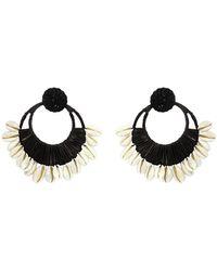 Johanna Ortiz Historia Natural Iraca And Shell Hoop Earrings - Black