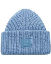 Acne Studios Pansy N Face Appliquéd Wool Beanie - Blue