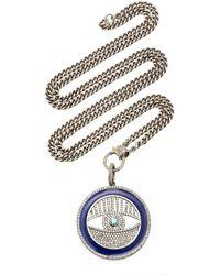 Sheryl Lowe Sterling Silver, Enamel And Diamond Necklace - Metallic