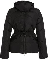 Moncler - Aloes Belted Short Down Hooded Puffer Coat - Lyst