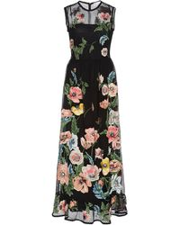RED Valentino Poppy Floral-embroidered Macramé Midi Dress - Black