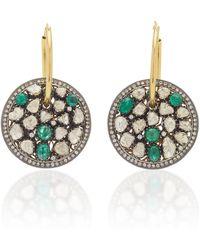 Amrapali 14k Yellow Gold Emerald, Diamond Earrings - Green