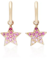 She Bee | 10k Gold Pink Sapphire Star Hoops | Lyst