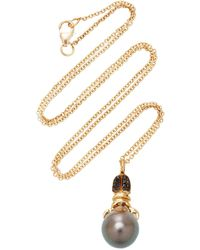 Daniela Villegas Khepri 18k Rose Gold, Garnet And Pearl Necklace - Black